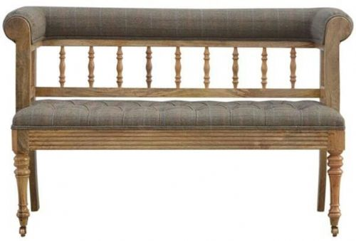 Mango Wood Hallway Bench With Tweed Upholstery And Front Castors